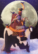 WW2260 Santa Riding a cow with antlers carrying moon and stars